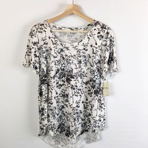 Lucky Brand T-Shirt Top Graphic Floral Black Sz M